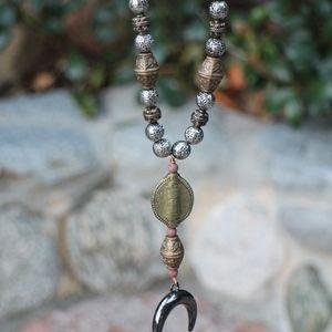 𝓢𝓪𝓵𝓮🌸 Handmade OOAK Horn Lava Rock Necklace